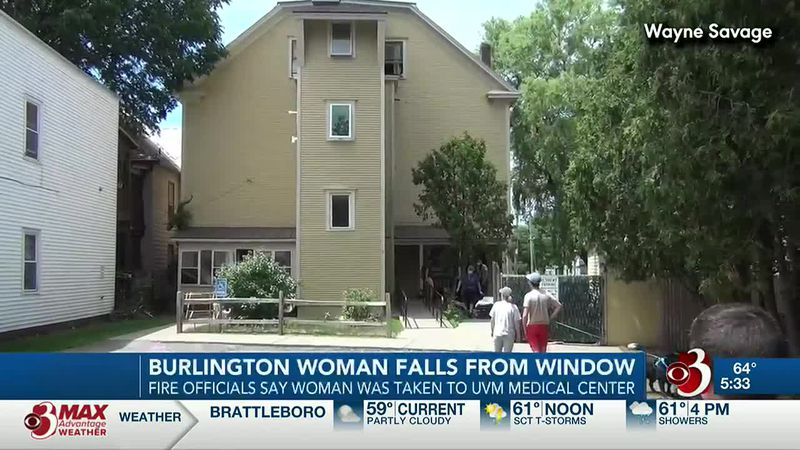 A woman is in the hospital after falling out of a third-story window.