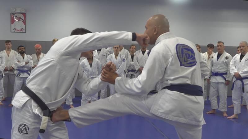 Royce Gracie demonstrates a Jiu Jitsu drill at his new studio in Essex Junction.