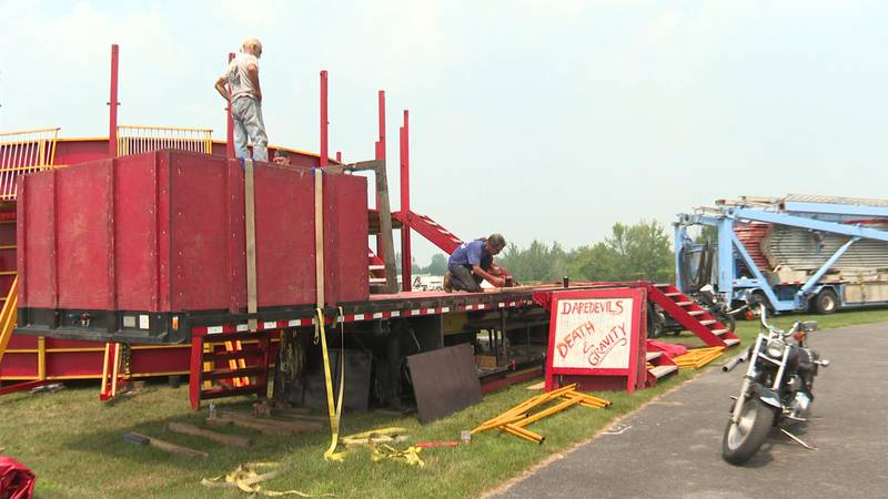Crews were at the Clinton County fairgrounds on Monday setting up for the kickoff of the fair...