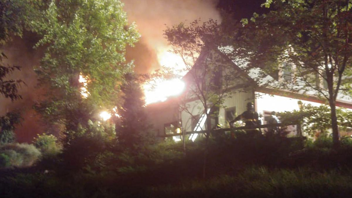 Fire that tore through Rachael Ray's Adirondack home began ...Rachael Ray House Fire Drone
