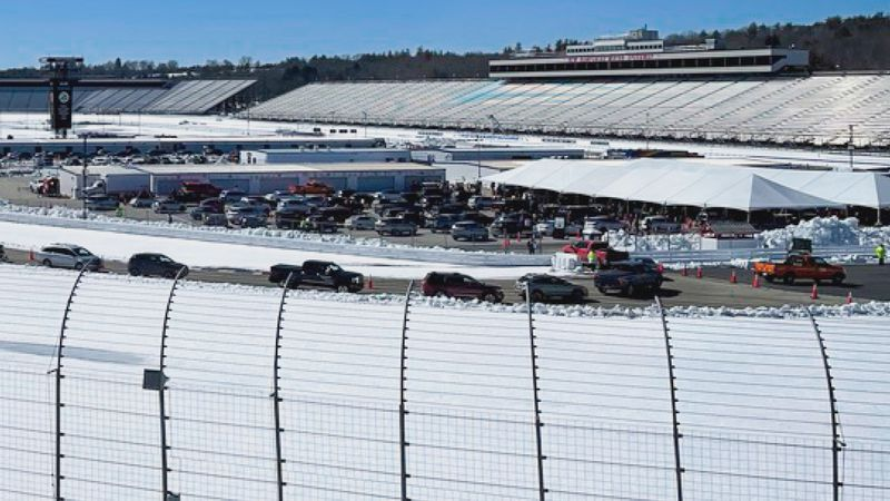 The New Hampshire Motor Speedway in Loudon, N.H. hosts state's first mass vaccination clinic.