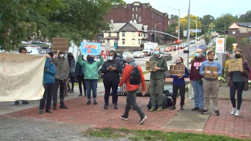 People gathered outside Sen. Patrick Leahy's office in Burlington Monday evening, calling for...