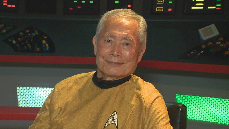 Actor George Takei visits the Star Trek set in New York.