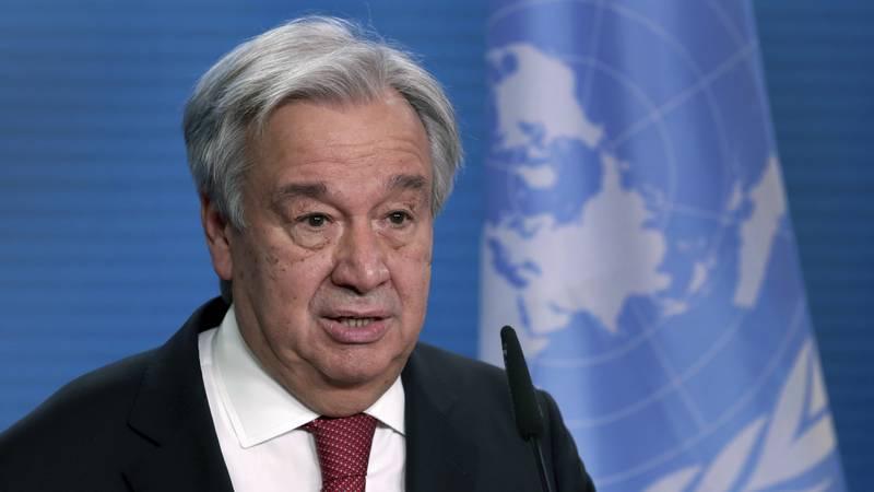 In this Dec. 17, 2020 file photo, UN Secretary-General Antonio Guterres addresses the media...