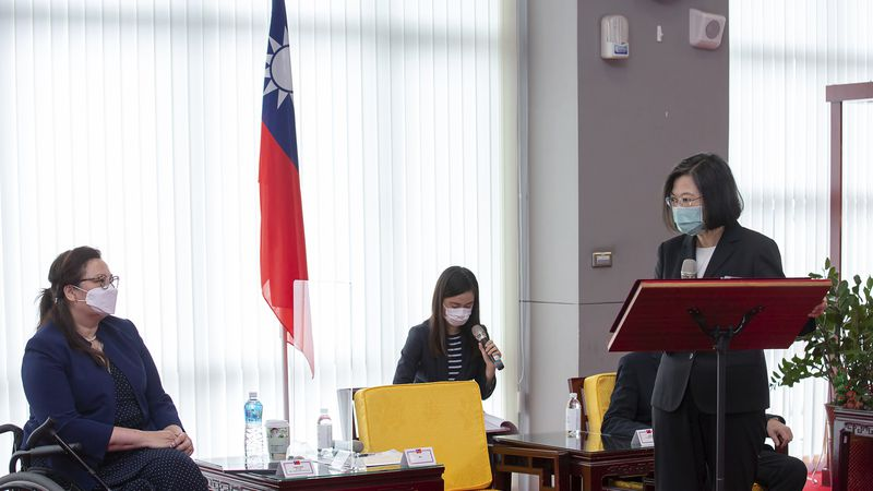 In this June 6, 2021, file photo released by the Taiwan Presidential Office, President Tsai...