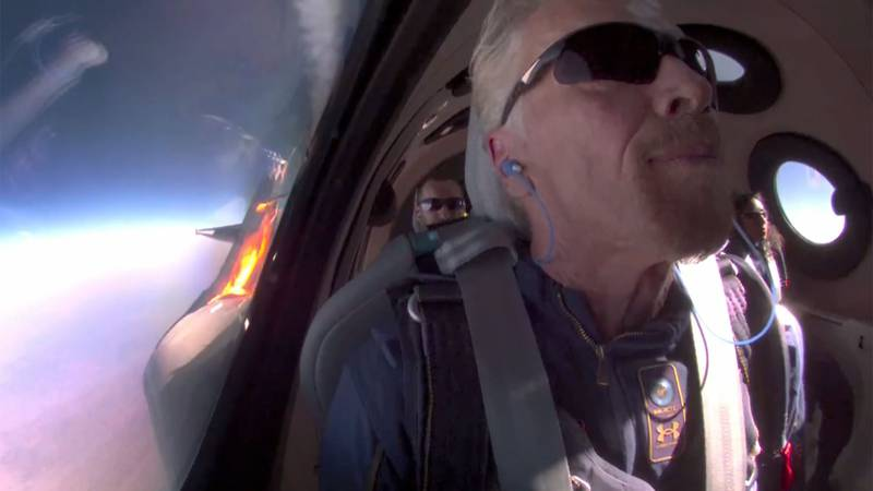 Billionaire Richard Branson on Sunday became the first person to take a trip to space on a...