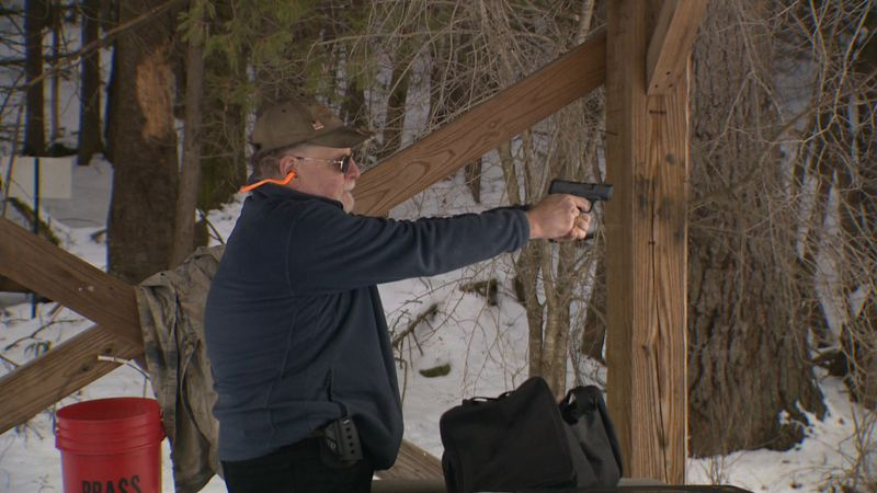 A new gun owner gets some target practice in Barre Friday.
