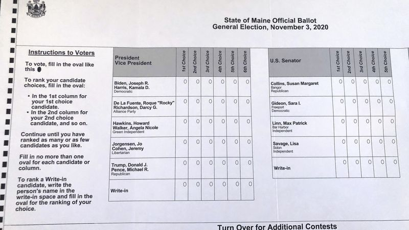 FILE - This absentee ballot for the 2020 Maine general election, photographed on Thursday, Oct....