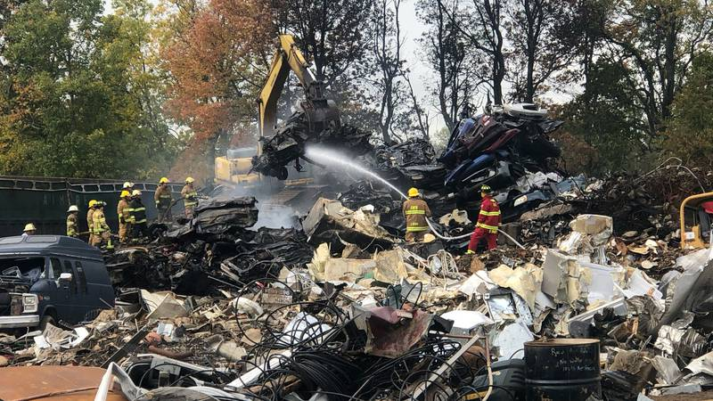 Multiple departments helped fight a fire after an explosion at Arno's Scrap Metal in Ellenburg...
