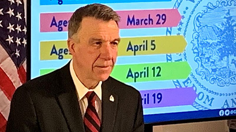 Gov. Phil Scott at Friday's briefing.