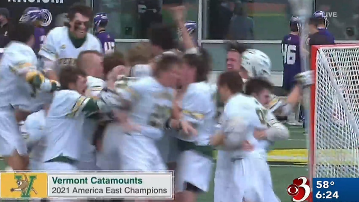 The UVM men's lacrosse team celebrates its first ever America East Tournament championship