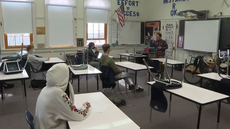 Burlington High School students headed back to in-person classes Monday for the first time in...
