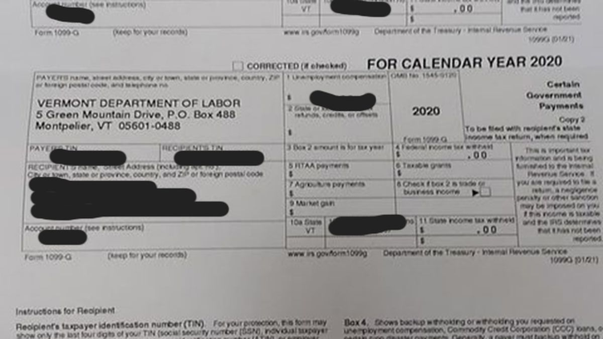 One of the nearly 50,000 1099-G forms sent to the wrong recipient.