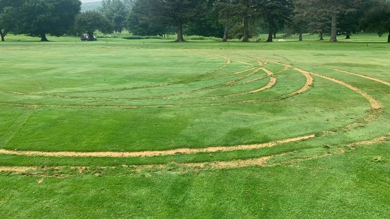 Police in Rutland are looking for the driver who did doughnuts on the Rutland Country Club's...