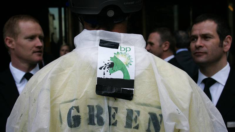 File - The 'Greenwash Guerrillas' protest BP in London in 2010.