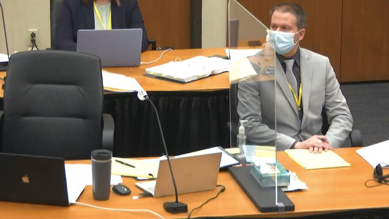 In this image from video, defendant, former Minneapolis police Officer Derek Chauvin, listens...