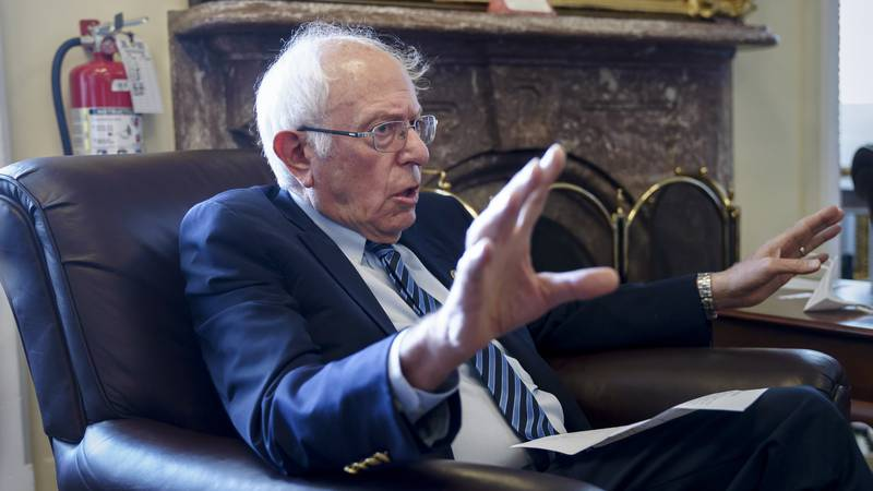 Senate Budget Committee Chairman Bernie Sanders, I-Vt., takes questions from reporters about...
