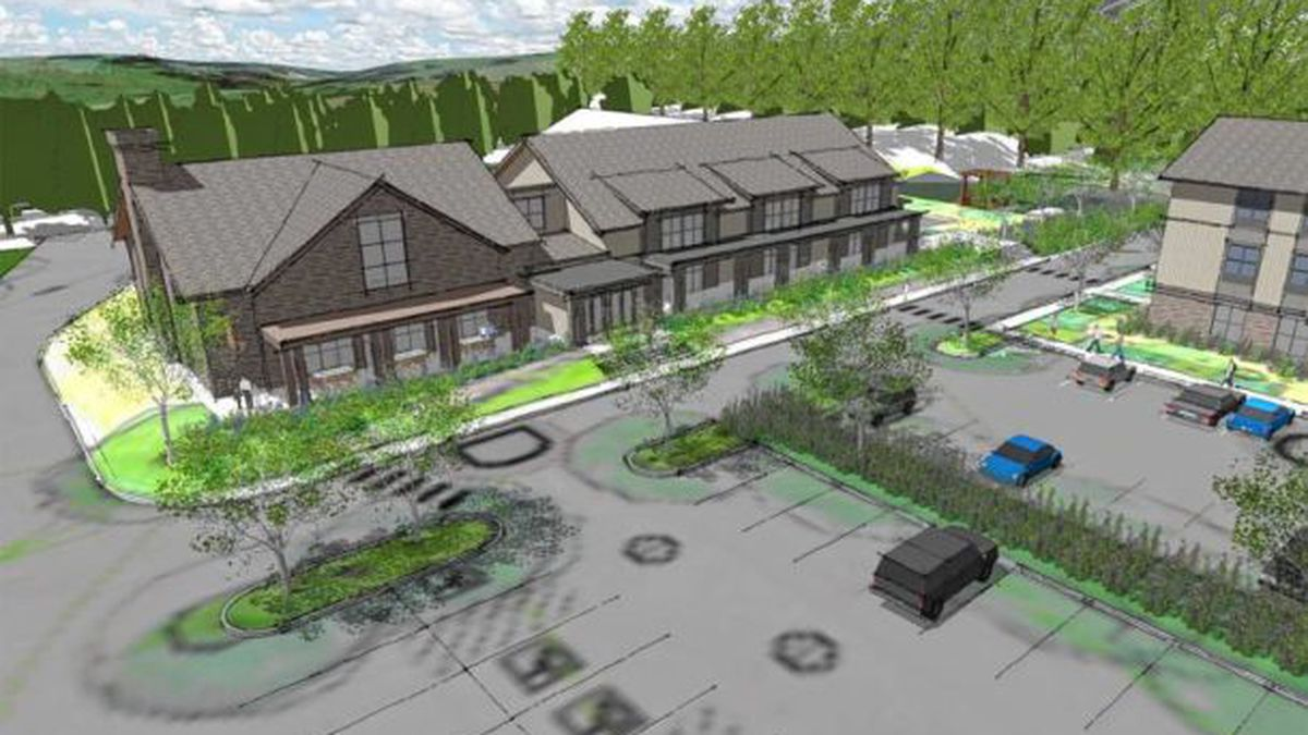 A bird�s eye view of the proposed hotel and conference center to be built between Interstate 89�s Exit 4 and Randolph Center, Vt., along Route 66. (Courtesy Town of Randolph)