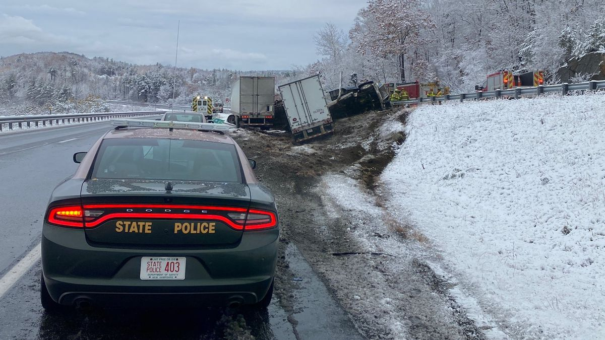 A collision between two tractor-trailers has slowed traffic on I-89 North in Springfield, N.H.
