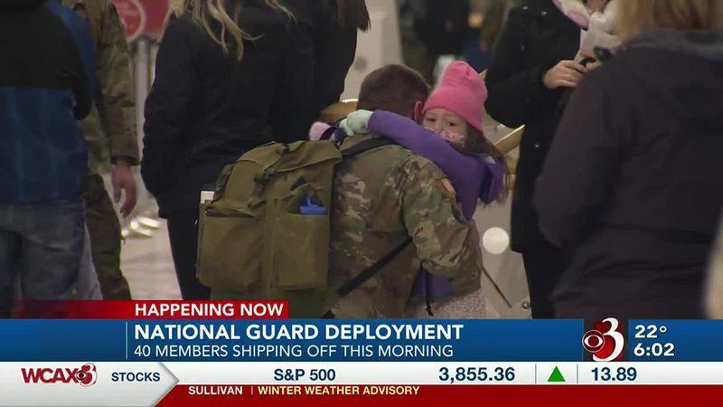 National Guard soldiers take off from Burlington