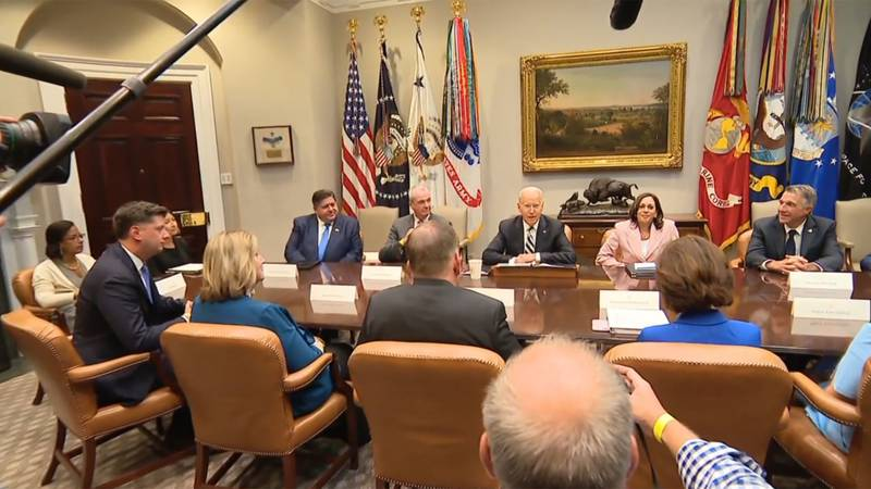 Vermont Gov. Phil Scott met with the president, vice president and other officials at the White...