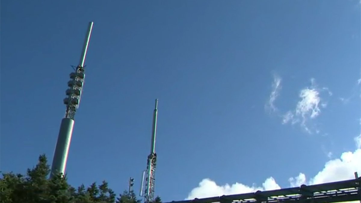 """The WCAX tower on the """"nose"""" of Mount Mansfield, as seen on the morning of August 1, 2020,..."""