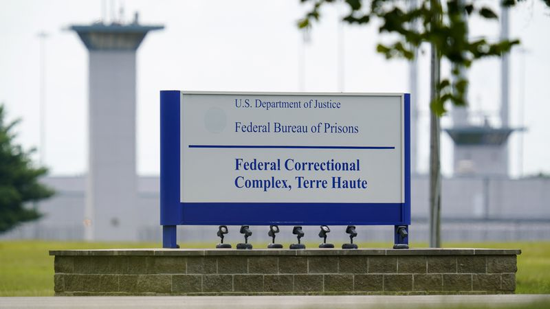 FILE - This Aug. 28, 2020, file photo shows the federal prison complex in Terre Haute, Ind....