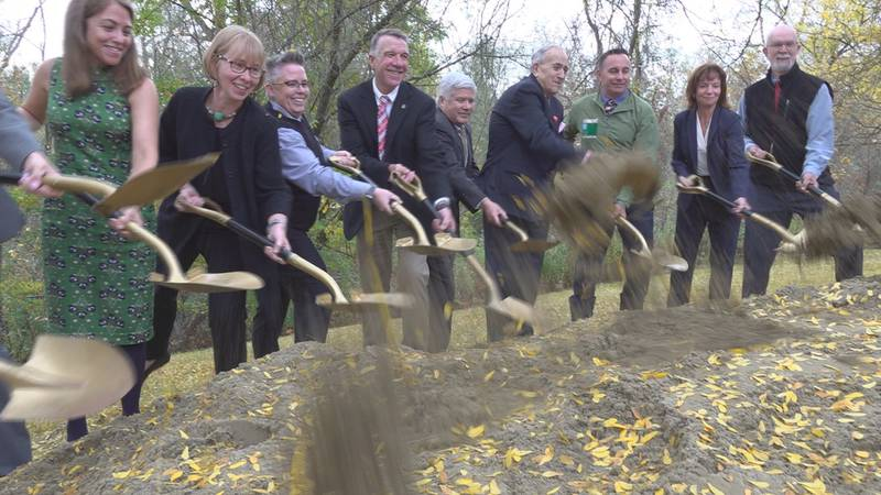 Governor Phil Scott and Vt. officials breaking ground on new mental health treatment facility...