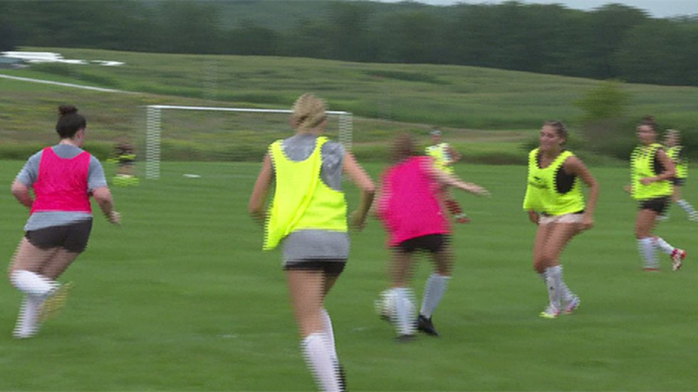 Rutland High School girls soccer team at practice.