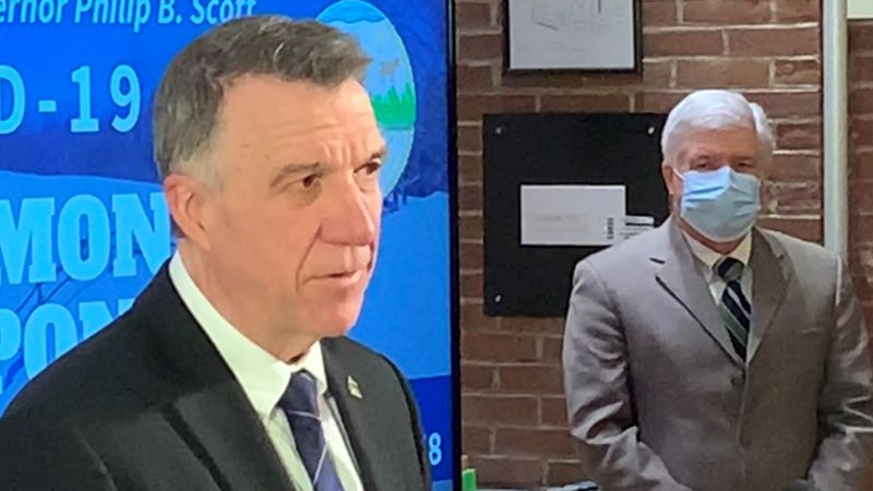 Gov. Phil Scott at Tuesday's briefing