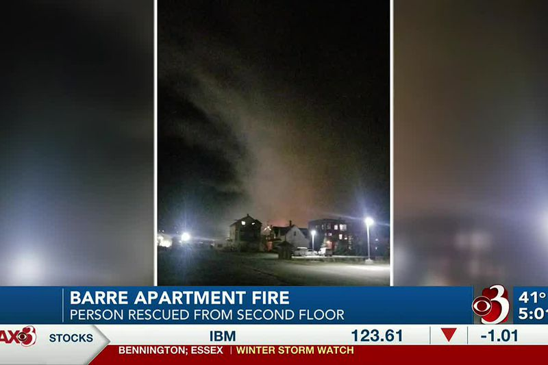 A person is safe after being rescued by local firefighters while flames attacked their...