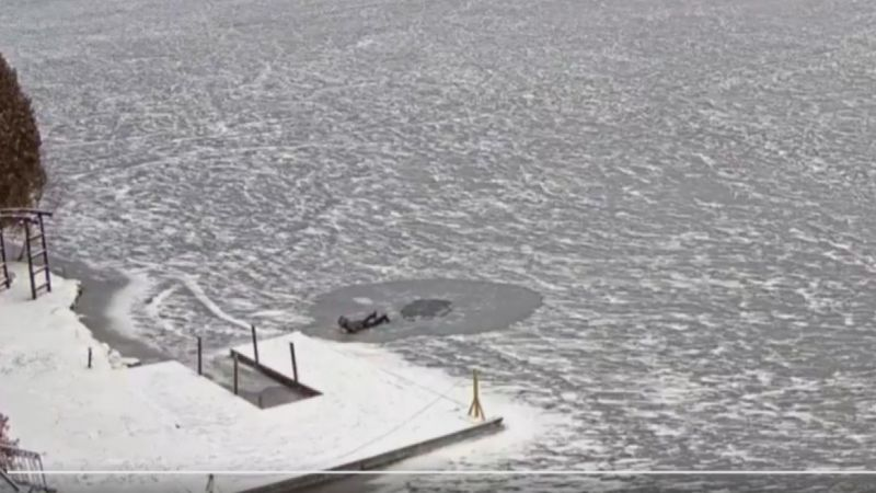 It took this person 30 seconds to swim back to the dock in freezing cold water.