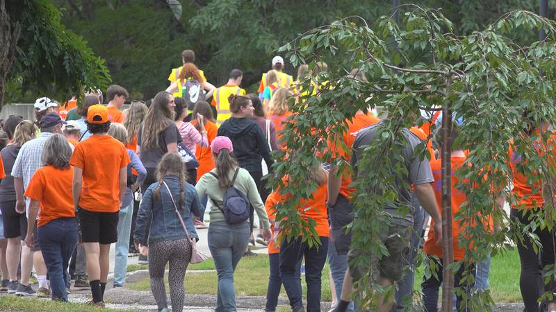 Folks walk in Battery Park to show support for the Champlain Valley Down Syndrome Group.