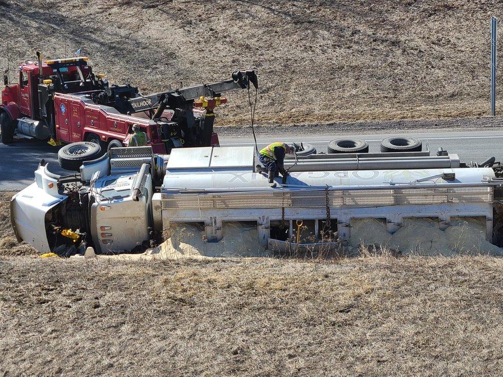 A truck rollover in Williston shut down an interstate on-ramp Monday morning.