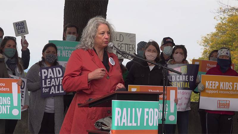 Advocacy groups from around Vermont rallied Tuesday in Burlington's Battery Park in support of...