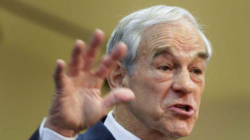 Republican presidential candidate, Rep. Ron Paul, R-Texas speaks to members of the group...