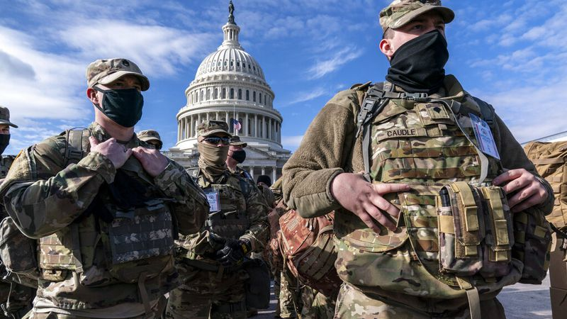 National Guard troops reinforce security around the U.S. Capitol.