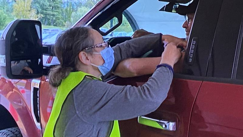 Monday was the first day of the drive-thru flu clinic at the VA Medical Center in White River...