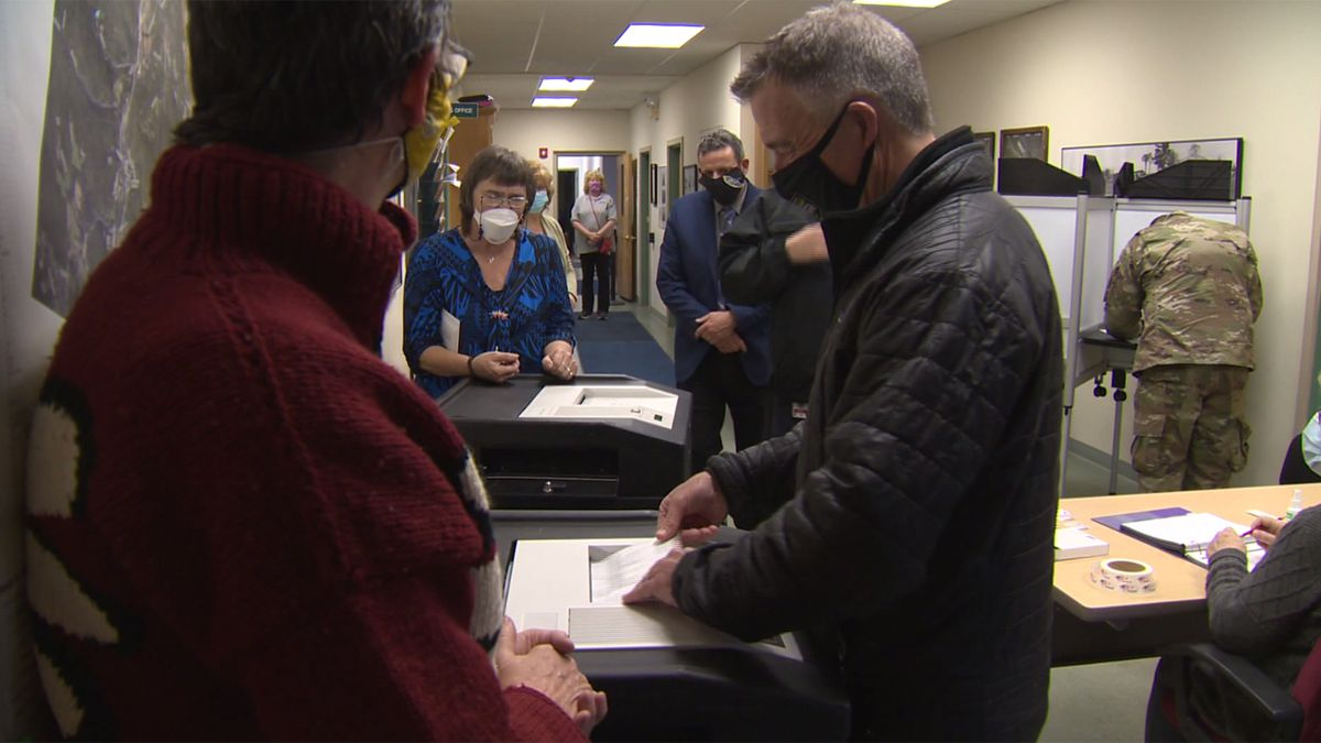 Vermont Republican Gov. Phil Scott casts his ballot in his hometown of Berlin on Election Day.