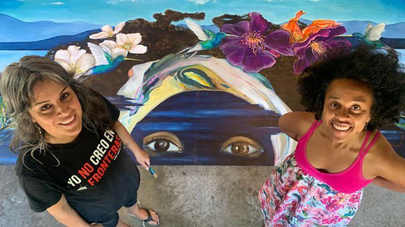 Storyteller Ferene Paris Meyer inspires a Juneteenth mural