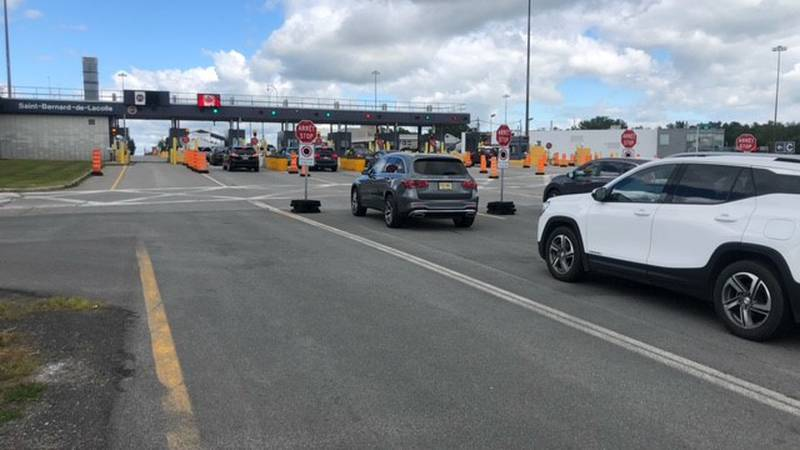 Cars lining up at the Champlain Port of Entry Friday.