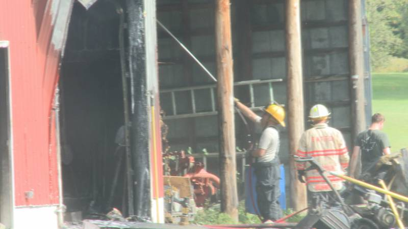 Tool shed catches fire in Swanton