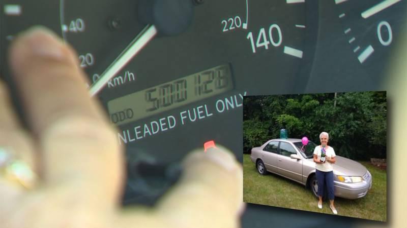 Edna Weber's 1999 Toyota Camry has hit a mileage milestone.