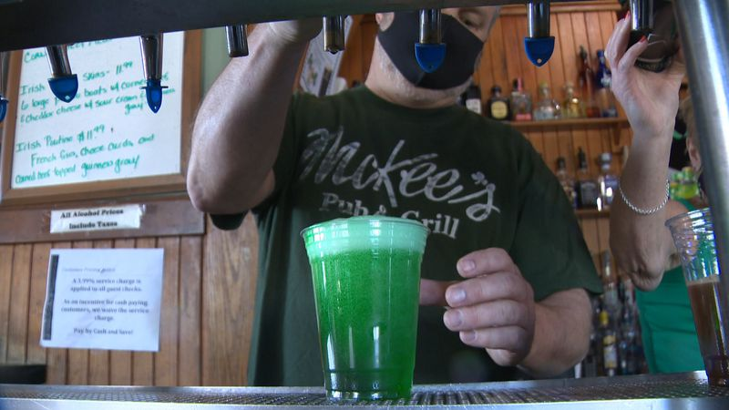 The green beer was flowing at McKee's Pub & Grill in Winooski Wednesday.