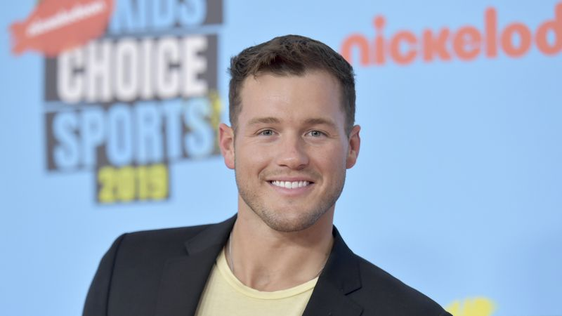 FILE - Colton Underwood arrives at the Kids' Choice Sports Awards in Santa Monica, Calif., on...
