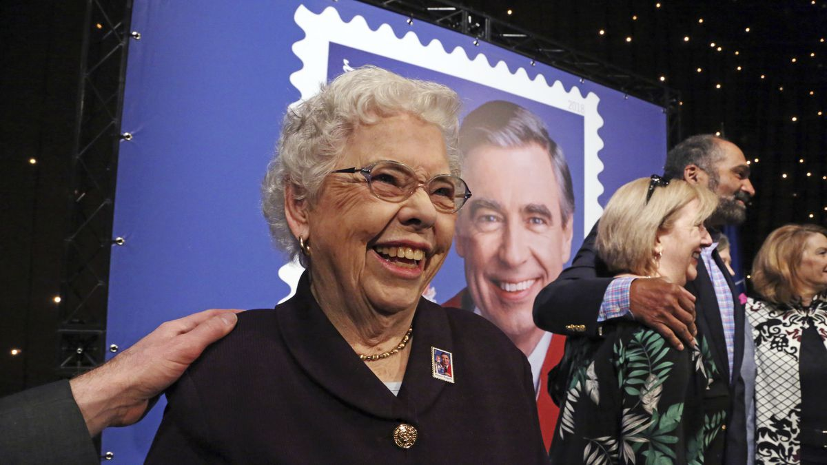 Fred Rogers wife, Mrs. Joanne Rogers, left, visits with friends, including Pittsburgh Steelers...