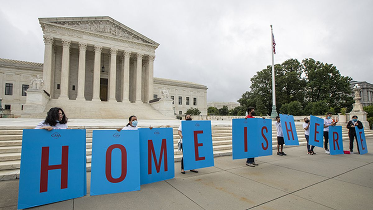 Deferred Action for Childhood Arrivals (DACA) students gather in front of the Supreme Court on...