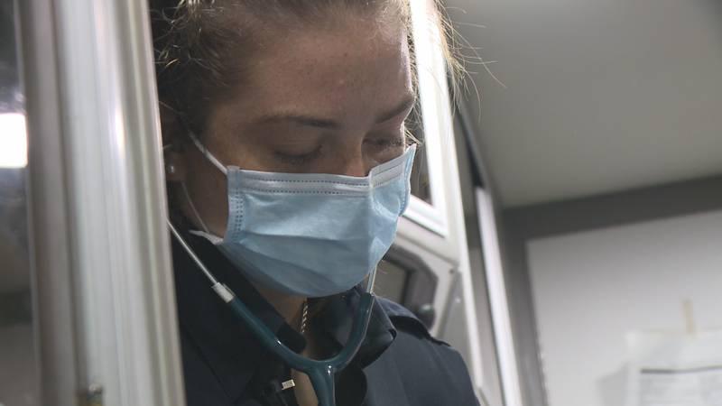 Katie Escobedo splits time between blocking shots and saving lives
