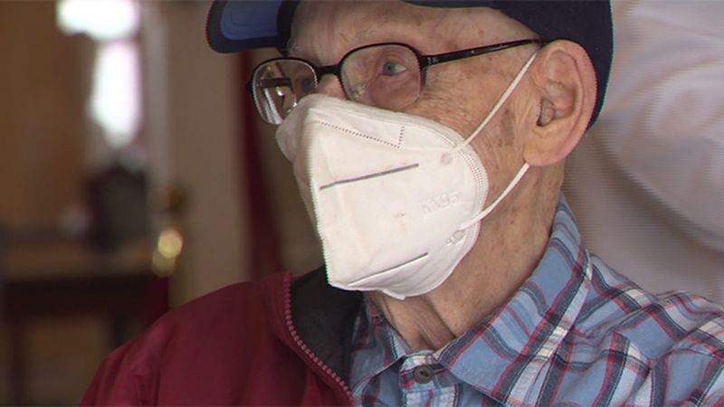 Super Senior Lenny Roberge got his vaccination in South Burlington Friday.