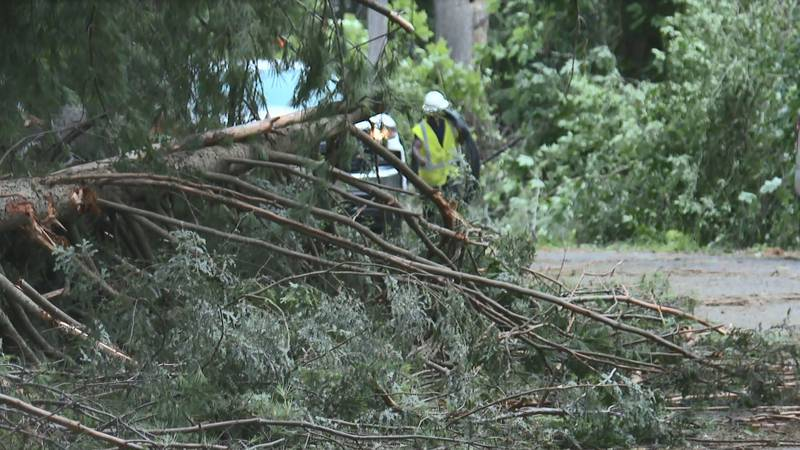 Crews in Hartford were out cleaning up on Thursday afternoon.